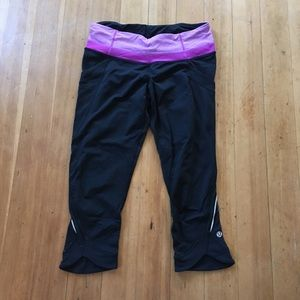 Lululemon Black/purple crop leggings